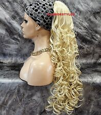 Bleach Blonde Long Layered Curly Ponytail Hair Piece Extension Drawstring NWT