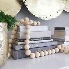 "57"" Natural Wooden Bead Wall Hanging Decoration Garland Farmhouse Ornaments New"