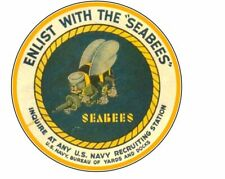 Enlist With The SeaBees USN Navy Recruiting Decal Bumper Sticker Sea Bee Can Do
