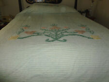 vintage chenille bed spread white with flowers