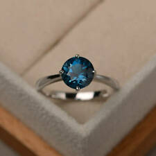 2.00 Ct Genuine Real Topaz Wedding Ring 14K Solid White Gold Rings Size N O P
