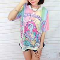 Lady Lolita T-Shirt Harajuku Japan Kawaii Rainbow Short Sleeve Tee Top Pink Cute