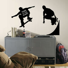 CHALKBOARD SKATERS WALL DECALS Chalk Board Skateboarding Stickers Room Decor