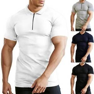 Mens Polo Shirt Short Sleeve Plain Muscle Tops Casual Slim Fit Blouse T-shirt