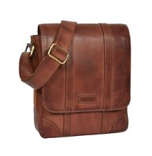 079495e0a5 Mens Real Leather Flight Bag Cross Body Organiser Travel Casual Pouch Tan