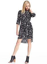 Diane von Furstenberg Prita Floral Tab-Sleeve Shirtdress, Garden Daisy Black, 6