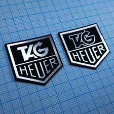 TWO (2) x Tag Heuer Metallic - Aluminium Logo Sticker Badge - 32 mm x 30 mm