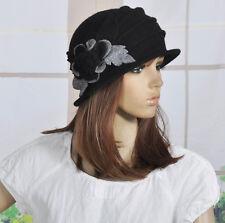 M92 Black  Wool Acrylic Cute Flowers Winter Brim Hat Cap Beanie Women's