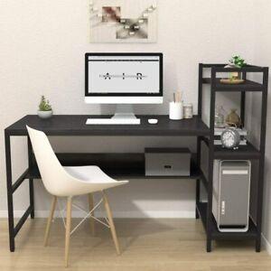 Black H-Shaped Computer Desk Large Gaming Table Office Desk Study Workstation UK