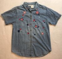 Chambray M Shirt Blue Denim Red White Stars Stripes Bandana July 4th Womens