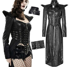 Asymmetrical leather coat gothic metal cyber warrior armor lace up sexy PunkRave