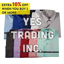 Mens Dress Shirt Plain White Modern Fit Wrinkle-Free Cotton Blend TM EXPOSURE