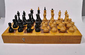 Soviet Wood Chess Set Russian Vintage USSR Antique Tournament