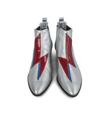 Modern Vice Bolt Handler Boot Silver 8 38 Glam Bowie !!
