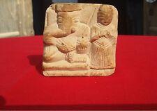 Vintage Sand Stone Hand Carved Hindu God Ganesha With Lady Statue Figure