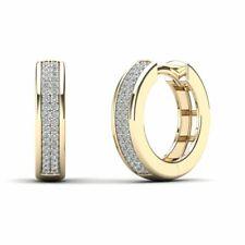 14Kt Yellow Gold 0.18 Ct Genuine Natural Diamond Huggie Hoop Earrings