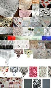 LUXURY TRADITIONAL PVC PLASTIC VINYL TABLE CLOTHS PLAIN PRINTED VINTAGE PARTY