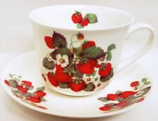Wild Strawberries Large Cup & Saucer Bone China Breakfast Set Hand Decorated UK