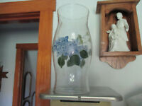 """Hand Painted Clear Glass Hurricane Shade 11"""" t Blue Hydrangea Candle Centerpiece"""