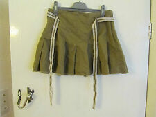 Brown Pleated Cotton Mini Skirt with Belt in Size 10