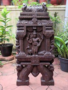 Kartikeya Statue Kavadi Temple Gopuram Muruga Sculpture Vintage Wall Panel Decor
