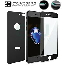 Front + Back Black 5D Tempered Glass Screen Protector For Apple iPhone 8