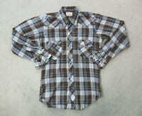 Wrangler Button Up Shirt Adult Large Brown Blue Pearl Snap Western Cowboy Men A0