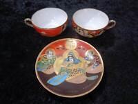2X Japón Porcelana Taza de Té + 1X Platillo - Vintage - Pintado a Mano