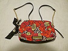 Betsy Johnson Vibrant Pattern Red Black Gold and Leopard Crossbody Bag