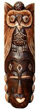 Schöne 50 cm Eule Holz Maske Owl Afrika Wandmaske Handarbeit Bali Maske88