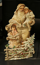 More details for huge stand-up father christmas glitter antique die cut victorian scrap crafting