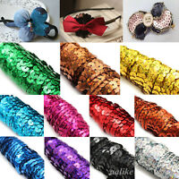 Hot DIY 6 Yards 6mm Faceted Round Loose Sequins Paillettes Sewing Wedding Craft