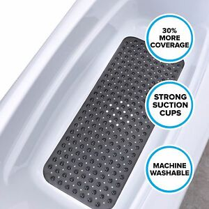"""Black Extra Long Bath Mat: 16""""W x 39""""L In-Tub Mat with Suction Cups"""