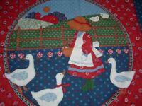 2 Vtg Calico Sunbonnet Sue Goose Lamb Blue Pillow Quilt Block Fabric Panel #PB3