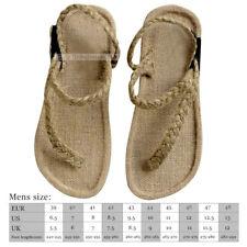 Mens hemp Straw Sandals Slippers flats Handmade Weaving flip-flops ShoesThong
