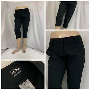 Adidas Golf Pants Sz 8 Black Flat Front Capris Straight 100% Poly EUC YGI X0-425