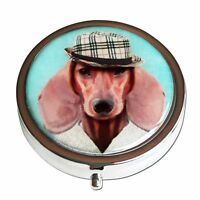 Dachshund Dog Silver Three Compartment, Round Pocket/Purse/Travel Pill Box Case
