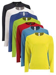 Womens Ladies Sporty Long Sleeve Performance Breathable Slim Fit Tee T-Shirt