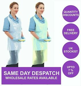1000 Disposable Plastic Aprons White Polythene Eco Flat Pack Waterproof UK