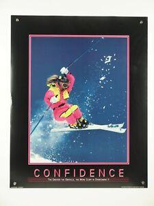 "vintage original CONFIDENCE motivational poster skiing woman color photo 24x30"""