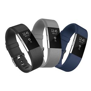 3x Ersatz Armband Schwarz Grau Blau Fitbit Charge 2 Fitness Sport Tracker