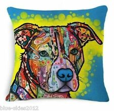 STAFFIE Staffordshire Bull Terrier  DOG LINEN-COTTON Bright Art CUSHION COVER