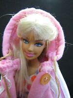 BARBIE DOLL BLONDE HAIR TRACK PANTS PINK HOODY & TOP SHORTS GREEN SHOES & SKIRT