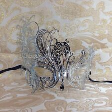 Beautiful Silver Swan Filigree Venetian Mardi Gras Masquerade Mask w/Rhinestones