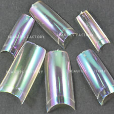 100pcs x Clear Rainbow Chrome False Nail Art Tips with Glue French S16Nails