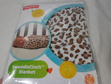 New Fisher-Price Swaddle Cinch Blanket - Brown/White Leopard Print 4-9 Mos Large