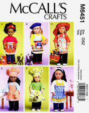 """McCall's Pattern M6451 18"""" Doll clothes Apron Bag Cat cooking painting chef 6451"""