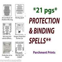 21 Pages PROTECTION & BINDING PAGAN Wicca Book of Shadows Parchment Prints Lot