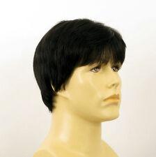 Perruque homme 100% cheveux naturel noir ref FRED 1b