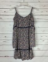 En Creme Anthropologie Women's M Medium Navy Floral Cute Spring Summer Tunic Top